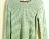 Vintage Christmas Gift! 1980's Mint Green Cable Knit Sweater Ladies by St. John's Bay Size Large