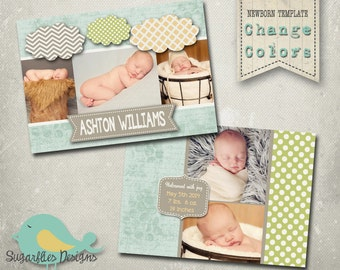 Baby Announcement PHOTOSHOP TEMPLATE - Baby Boy Clouds 003