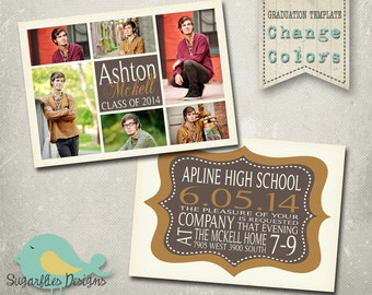 Boy Graduation Announcement PHOTOSHOP TEMPLATE - Senior Graduation 38