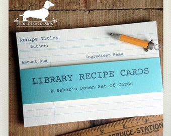 Good Read. A Baker's Dozen (Qty 13) Set of Recipe Cards -- (3x5, 4x6, Vintage-Style, Library Card Catalog, Teacher, Book Club, Under 15)