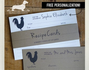 Rooster. Free Personalization. A Baker's Dozen (Qty 13) Set of Recipe Cards -- (3x5, 4x6, Custom, Farm, Wedding Gift, Bridal Shower Favor)