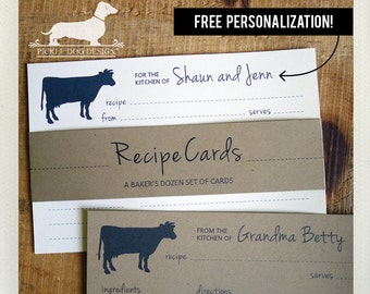 Cow. Free Personalization. A Baker's Dozen (Qty 13) Set of Recipe Cards -- (3x5, 4x6, Rustic, Moo, Farm, Wedding Gift, Bridal Shower Favor)