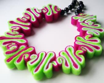 SALE Felt Necklace, Felt Jewelry, Bib, Eco Recycled, Free Form, Neon Green White Hot Pink Bib Necklace, Felt Jewelry, Felted Necklace