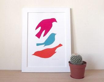 Bird Screenprint, Bird Shapes, Bird Print, Bird Art, Bird Poster, Home Decor, Graphic Art, Summer Print, Animals, Magenta, Turquoise, Orange