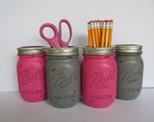 Dorm Decor- Painted and Distressed Ball Mason Jars- Hot-Dark Pink and Gray-Set of 4-Flower Vases, Rustic Wedding, Centerpieces