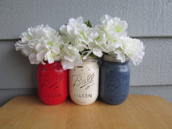 Painted and Distressed Ball Mason Jars- Red, White, and Blue of 3-Flower Vases, BBQ, Summer Party, Patriotic, 4th of July