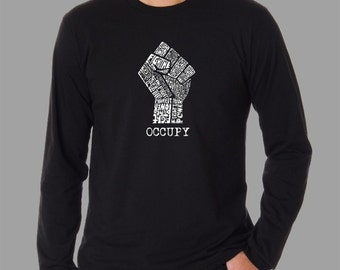 Men's Long Sleeve T-Shirt - Occupy Wall Street - Created using the words  Fight The Power