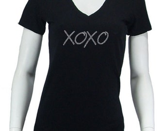 Women's V-neck T-shirt - Created using the words Hugs & Kisses XOXO