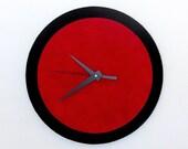 Wall Clock, Red and Black, Retro Clock,  Home and Living, Home Decor, Decor and Housewares, Home and Living, Unique CLock