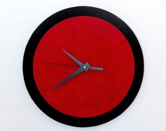 Wall Clock, Red and Black, Retro Clock,  Home and Living, Home Decor, Decor and Housewares, Home and Living, Unique CLock