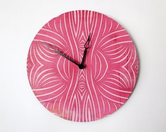 Wall Clock, Retro Wall Clock,  Pink Clock, Home and Living,  Decor & Housewares,  Birthday Gift,  Housewarming Gift