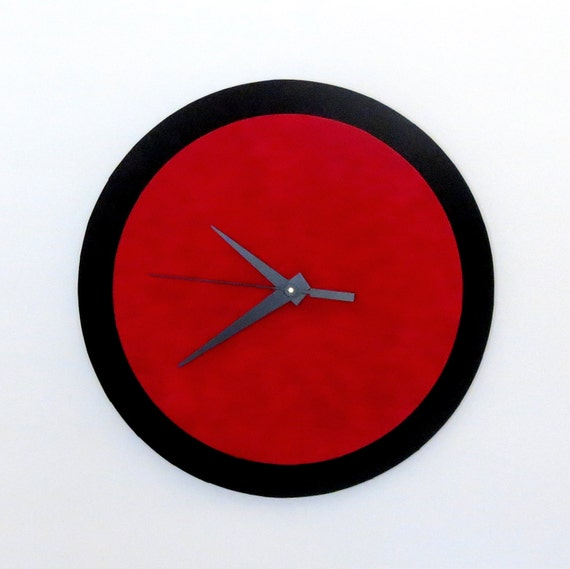 Wall clock red and black retro clock home and living home for Red and black wall clock