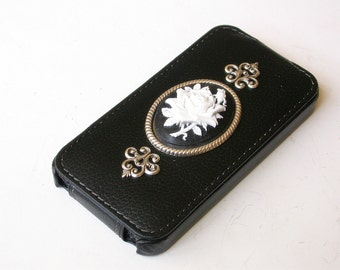 iPhone 4 and 4s Flip Case  -Victorian White on Black  Rose Cameo PU Leather Case - iPhone Accessories