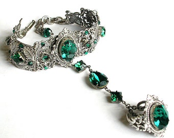 Silver Slave Bracelet Victorian Bracelet Ring Emerald Swarovski Crystal Ring Bracelet Hand Flower Bracelet Ring Gothic Jewelry