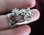 Silver Garnet Ring - Artisan jewelry - Unique design Ring - Ready to Ship Size 7 1/2  - Made in Israel