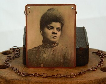 Ida B Wells necklace African American Journalist  mixed media jewelry