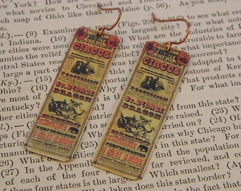 Circus earrings Circus Jewelry Victorian poster image mixed media jewelry