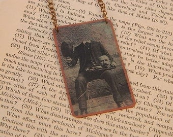 Halloween necklace Victorian Missing Head Trick mixed media jewelry