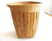 Tall woven bamboo basket, handmade basket