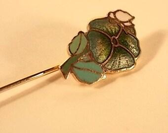Vintage Enameled Pansy Stickpin Lapel Pin