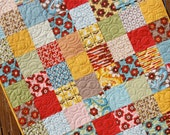 MADE TO ORDER - Red Yellow Blue Floral Baby Girl Quilt Boho Handmade Blanket Nursery Bedding