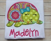 SAMPLE SALE: Summer Girly Turtle - Embroidered Shirt, Personalized, Sale, Toddler Girl, Birthday Shirt