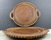 Vintage Carved serving platters TWO Wooden Trivets