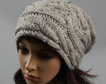 Hand knitted oversized slouchy beanie for women. A lovely ladies hat available in many colours.