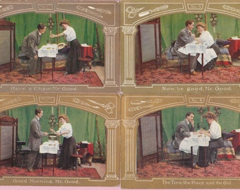 Lot of 4 Ca. 1909 Victorian Comical Greetings Postcards - 73