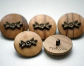5 Wooden button with a bronze metal flower ø23mm country style