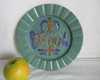 Vintage Bennington Pottery Wall Plate Aqua Blue Green Butterfly Purple Home Decor Vermont
