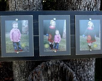 Wood Plank Frame, Distressed Picture Frame, Triple Frame, 5x7 Picture Frames, Black Picture Frame, College Frame