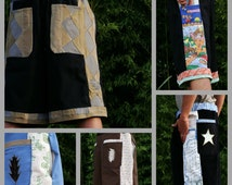 mens patchwork Dude Shorts CuSToM hippie patchwork MADE to ORDER six pocket 30 32 34 36 38 40 42 44 46 48 RADIANT Shade