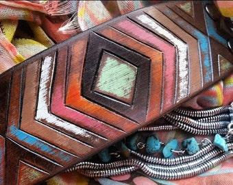 Leather Tribal Chevron Bracelet, Chevron Jewelry, Tribal Cuff, Leather Cuff, Rustic Leather Cuff, Arrows