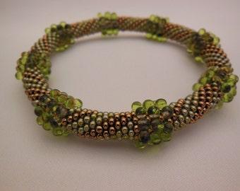 Bead Crochet Bangle:  Green Apples