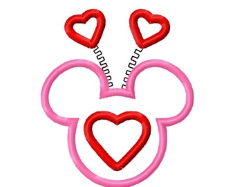 Valentine Mr Miss Mouse Applique Machine Embroidery Design 4x4 5x7 6x10 INSTANT DOWNLOAD