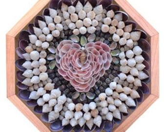 "Nantucket Sailor's Valentine Seashell Mosaic Design ""Rose Cup Heart"""