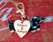 Two Black and Tan Dachshund Keychain  Custom Heart Tag and Personalized Dog Name Tag Keyring