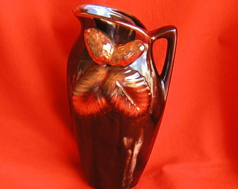 Gold And Brown Drip Glaze Vintage Pitcher