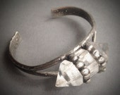 Starkeeper- raw crystal double terminated point studded cuff bracelet