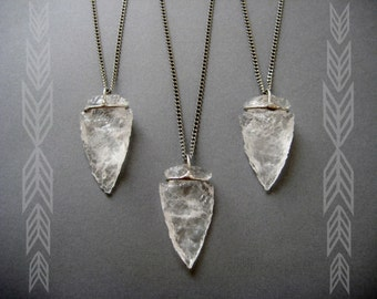 Divine Warrior- quartz crystal arrowhead necklace