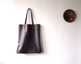 Black Leather Tote Bag - HANDA - Midnight Black strong Leather Shoulder Bag Shopper by Jeanie Deans