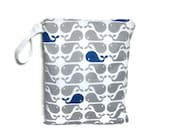Whales gray navy bluel wet bag swim suit pool beach bathing summer bag waterproof small cloth diaper whales ocean beach wetbag