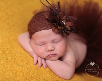 Chocolate Brown Tutu and Matching Deluxe Brown Flower Headband (SET) - NEWBORN size - Beautiful Fall Photo Prop or Keepsake Photo Prop