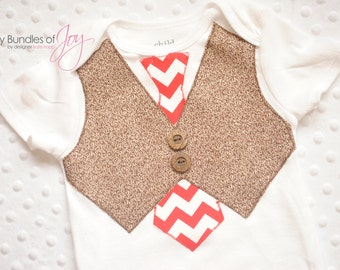 Sock Monkey Tie and Vest One Piece/Bodysuit/Shirt with Real Buttons