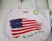 Be Free and Eco American Flag Eco Bag Tote Shopper