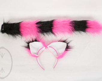Hot Pink & Black Striped Cat Skinny Tail and/or Ears Set, Combo, Costume