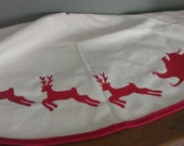 Red and White Santa Sleigh Tree Skirt