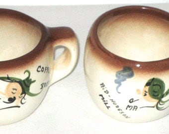Vintage Ma and Pa coffee cups ceramic mugs souvenir Aid Hodgson Mill
