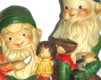 Vintage pair of  ceramic elves Santa's helpers by Homco